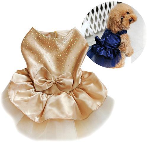 Cute Dog Dresses Pet Puppy Bowknot Gauze Skirt  Sequin Princess Clothes Apparel Dog Supplies