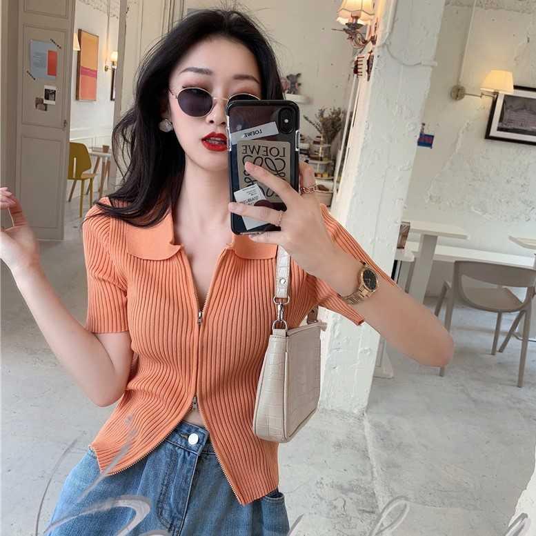 2021 Summer New Korean Style Polo Collar Double-Headed Zipper Short-Sleeved Sweater Slim Fit Short C