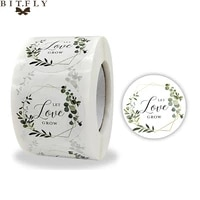500pcs 1 5 inch floral love wedding stickers thank you sealing labels wedding birthday party gift handmade tag favors decor