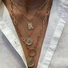 Collar de retrato grueso cubano rizado en capas Punk, collar de mujer, colgante de monedas de oro antiguo, collar para joyería femenina