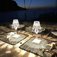 Алмазная настольная лампа, акриловые декоративные светильники с USB-зарядкой, для спальни, прикроватного столика, светильники с кристаллами,...