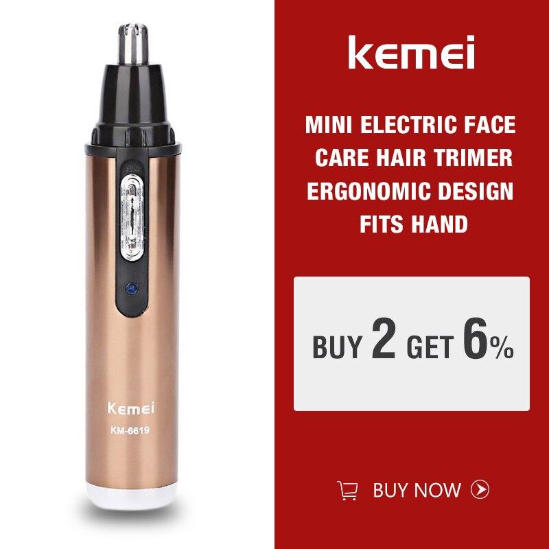 Электрический триммер Kemei для носа и ушей, для мужчин и женщин, уход за лицом, для удаления бровей, аккумуляторная машинка для стрижки волос, бритва