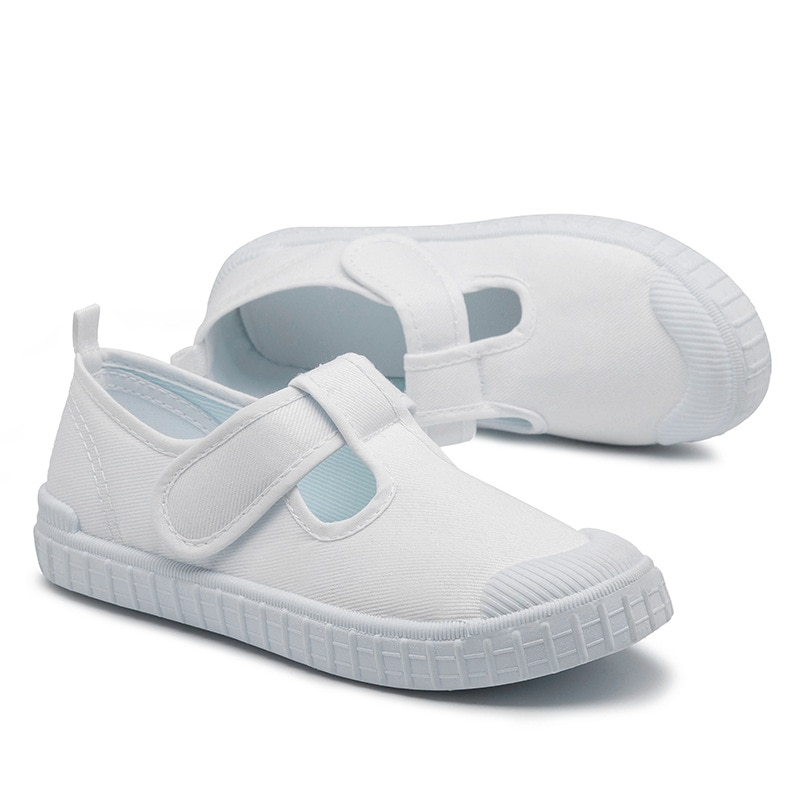 Kids Shoes for Baby Girls Leisure White Canvas Dancing Shoes Anti-Slippery Rubber Sole for Baby Boys Toddler Sneakers Trainer