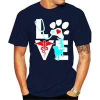 2021 mode coton T-shirt veterinaire Amor Gato E cao veterinaire engracado Homem tveraomasculino Homme S-3xlmasculino