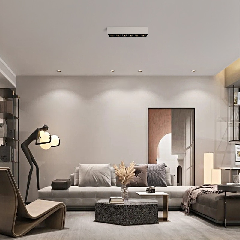 Nordic LED Grille Ceiling Lamp Modern Direction-changing Focus Luminaire for Corridor Aisle Staircase Living Room Decor Lights enlarge