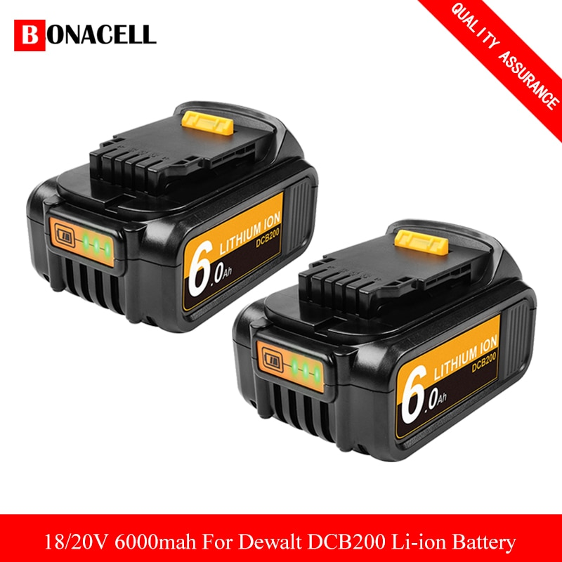 6000mAh 20V MAX DCB200 DCB180 DCB205 batería para Dewalt DCB200 DCB204 DCB101 DCF885 DCD980 DCB181 DCB182 herramientas eléctricas de batería