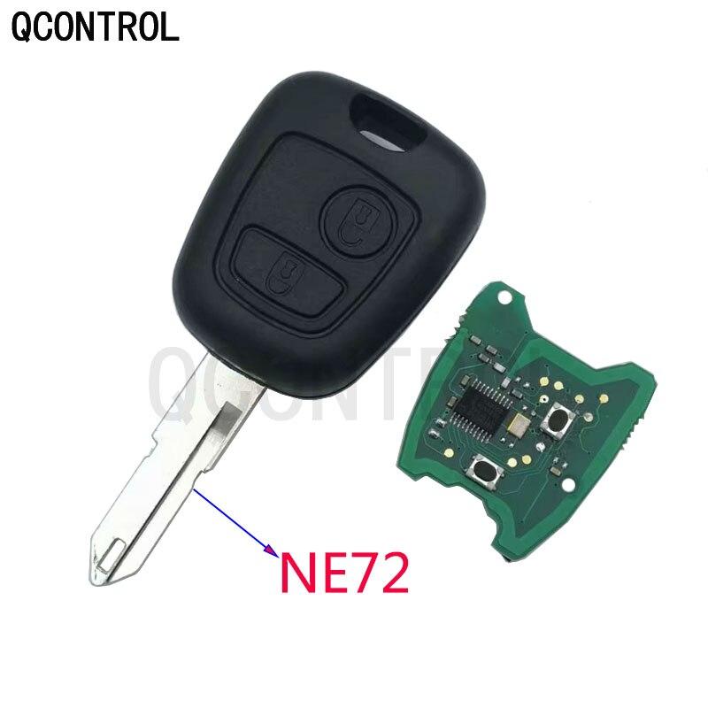 Qcontrol 2 botões ne72 lâmina remoto chave fob controlador para peugeot 206 433mhz com pcf7961 transponder chip