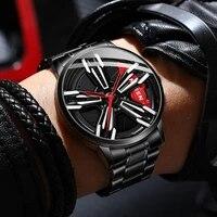 fngeen locomotive watch mens rotating wheel three dimensional hollow car modification gift waterproof quartz watches men l001