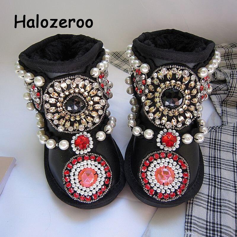 Novo Inverno Crianças Botas de Neve Meninas Do Bebê Botas Quentes Crianças Sapatos de Strass Criança Botas Genuínas Ankle Boots de Couro Preto Marca