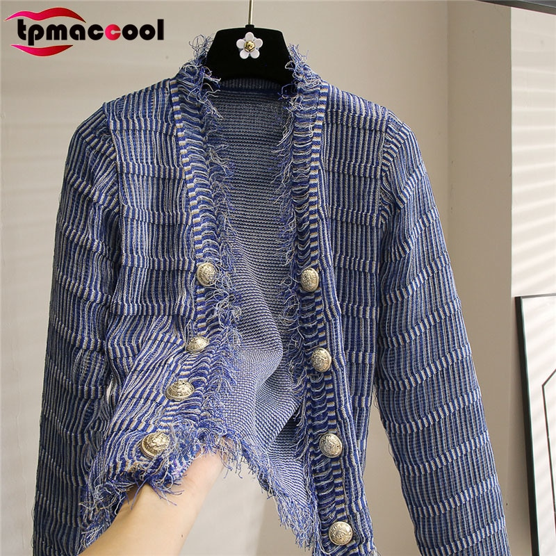 luxury designer Sweaters Cardigans Women High End Quality 2021 Early Autumn Slim Gold buttons Fringe cropped cardigan knitwear enlarge