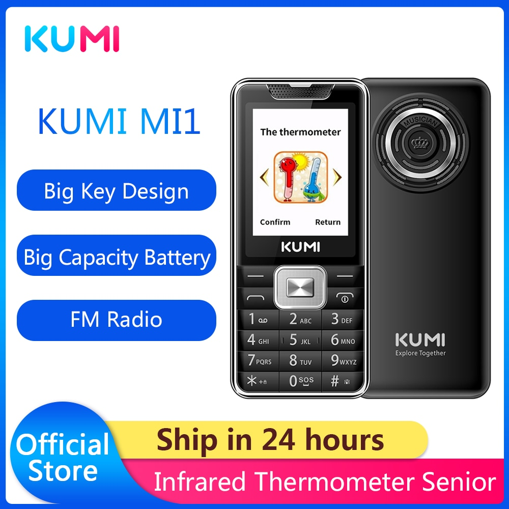 KUMI Unlocked Feature Mobile Phone with Infrared Thermometer Flashlig Senior Kids Dual SIM Card Cell