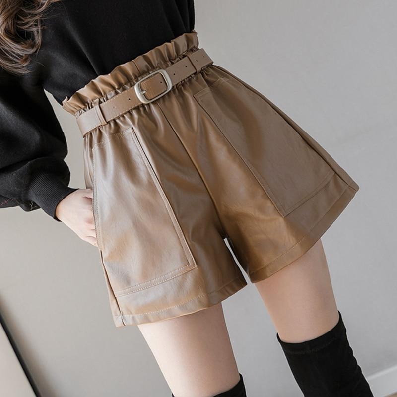 Шорты женские кожаные с завышенной талией, эластичные трапециевидные Широкие штаны с поясом, Элегантные повседневные штаны из искусственн...