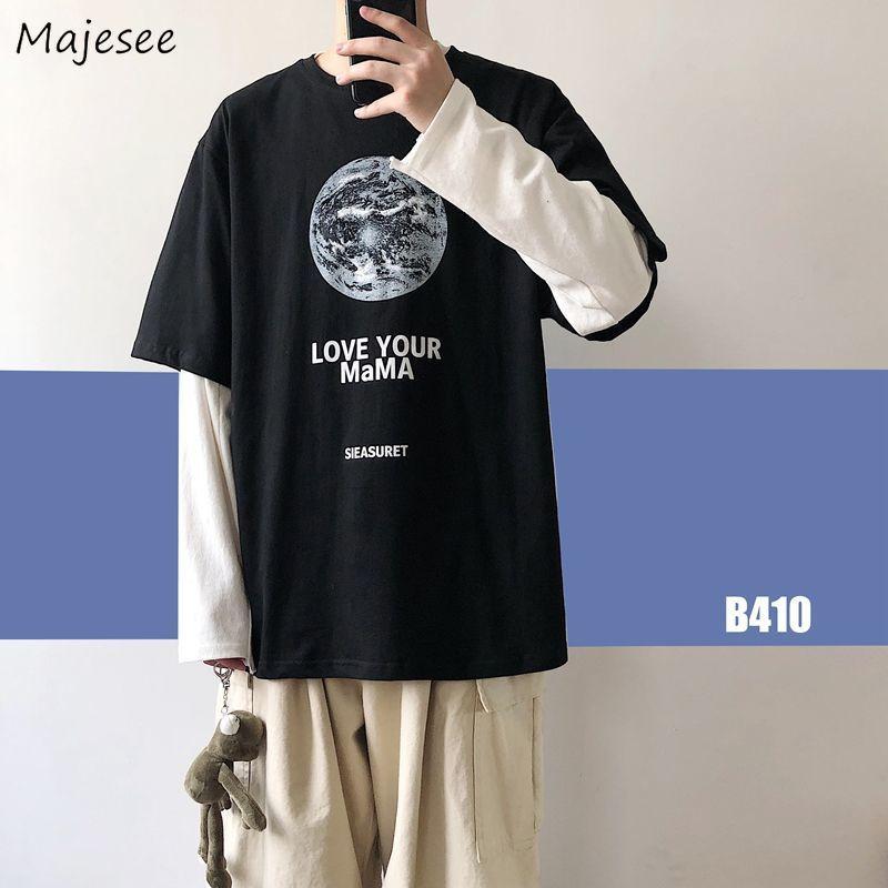 Camisetas de manga larga para hombre, ropa de calle informal holgada a la moda con letras para parejas de estilo coreano, camiseta elegante falsa de dos piezas Ulzzang Hip Hop