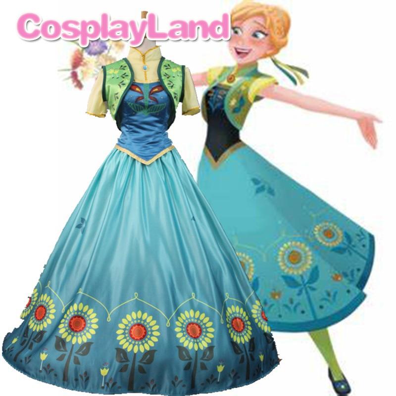 Princesa anna cosplay traje febre vestidos de festa para adultos feminino festa de halloween cosplay traje vestido de impressão vestido de princesa