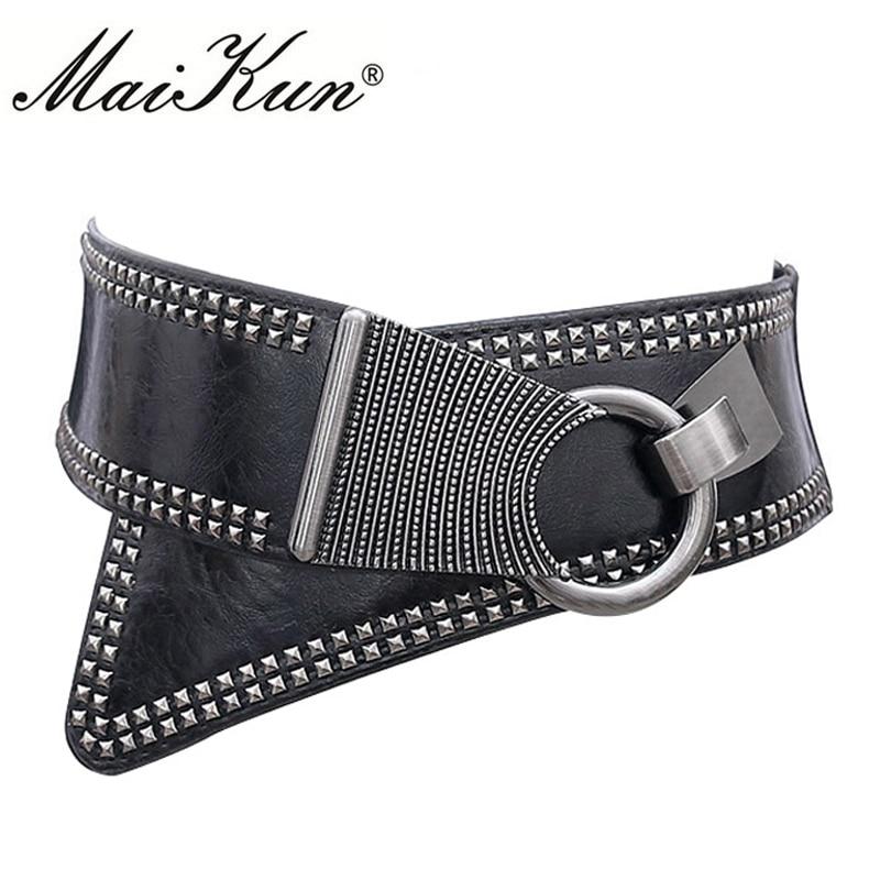 Christmas 2020 Maikun Fashion Punk Rocker Wide Belts for Women Elastic European Style Metal Round Buckle