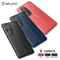 uflaxe soft silicone shockproof case for huawei p50 p40 p30 pro plus litchi texture ultra thin cover