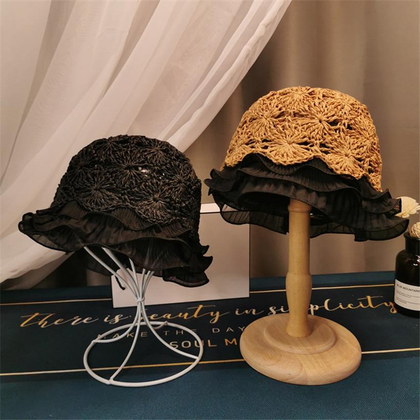 Chapéu de palha 2020 packable praia boné feminino verão dobrável cloche sol chapéus proteção uv rendas borda balde chapéu doce bob chapéu coreano