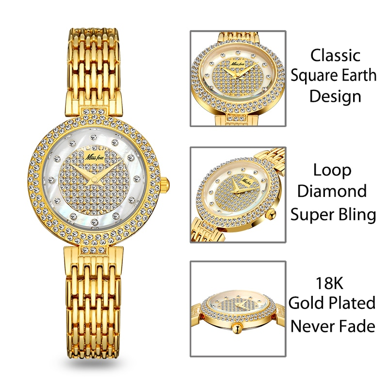 MISSFOX Women Watch Top Brand Small Dial Gold Watches For Female Fashion Waterproof Quartz Clock Lady Party Gift Free Shipping enlarge