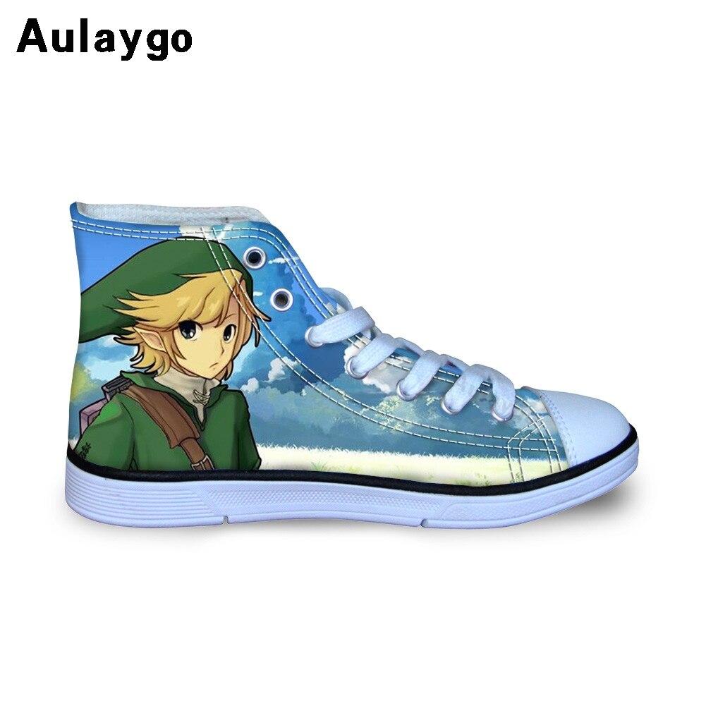 Aulaygo zelda padrão crianças sapatos anime elemento crianças casuais apartamentos rendas até tênis meninos meninas respirável moda venda quente