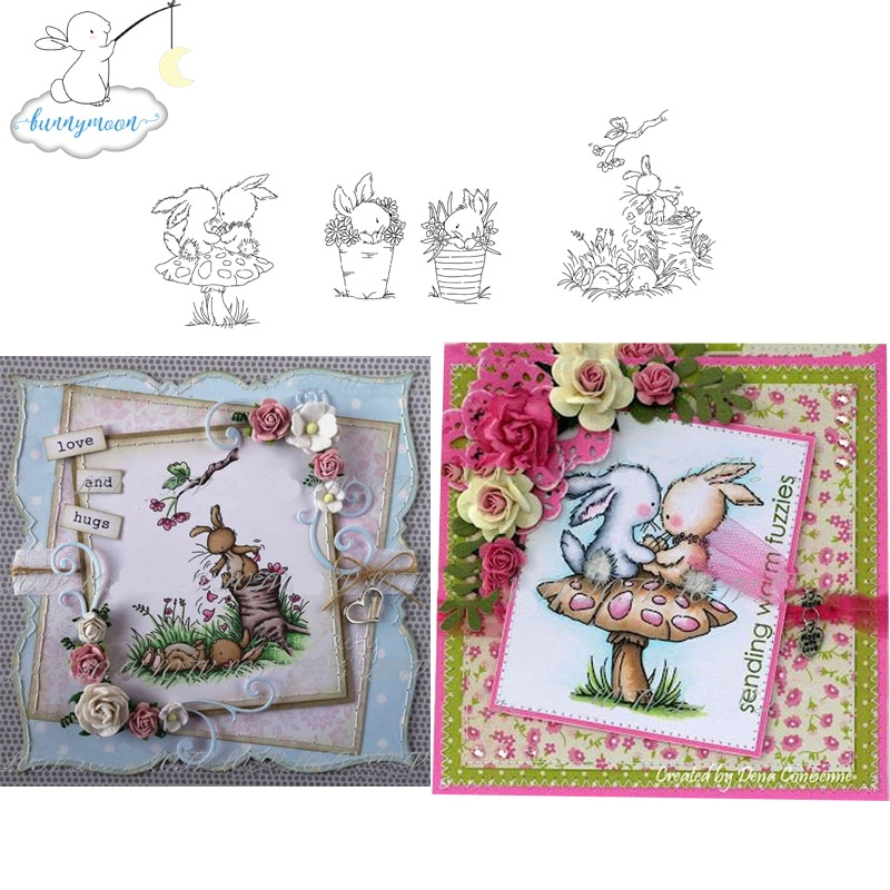 Ch bonito animais e crianças selo de silicone em relevo scrapbooking estêncil ofício diy cartão artesanato morre álbum artesanal decoração