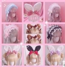 Bandeau de cheveux princesse adorable lolita   Bande de cheveux lapin, oreilles KC, bandeau ours/thé, bande de cheveux Lolita douce et douce soeur HZQX079