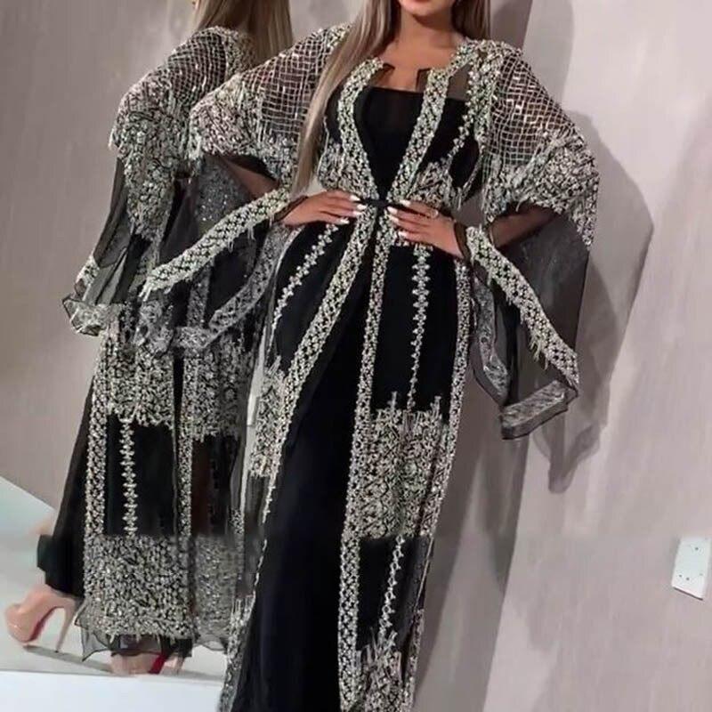 2020 Abaya Dubai musulmán vestido de lujo de alta clase lentejuelas encaje bordado Kaftan Islam mujeres long abaya