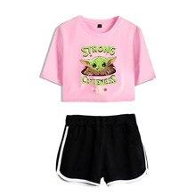 The Mandalorian Baby Yoda Tracksuit 2 Piece Set Women Crop Top and Shorts Pants Streetwear Women Sets New Two Piece Set Women