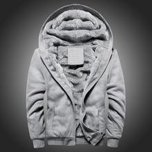 Black Hoodies Men 2020 Winter Jacket Fashion Thick Men's Hooded Sweatshirt Male Warm Fur Liner Sport