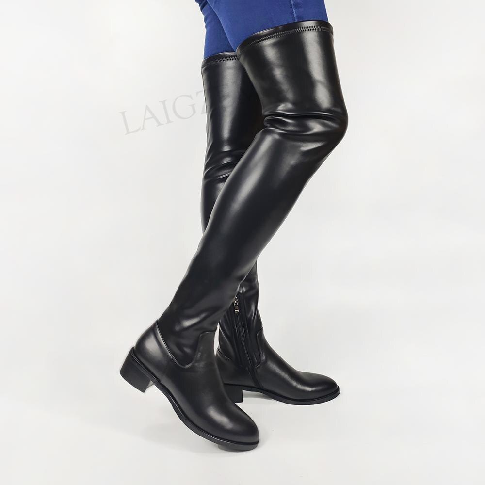 DOHBANER-حذاء نسائي من الجلد الطبيعي فوق الركبة ، حذاء نسائي بكعب منخفض قابل للتمدد ، أسود ، مقاس كبير 33 41 42 43