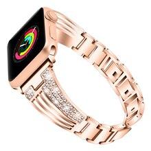 Bracelet de montre diamant pour montre Apple 44mm 42mm 40mm 38mm Bracelet de bijoux iwatch série 5 4 3 2 1 Bracelet en acier inoxydable femme