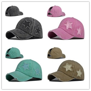 Pure cotton washed ponytail hole five-pointed star baseball cap ponytail cap foreign trade Europe and America tide curved brim p