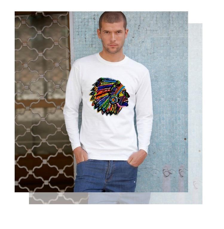 Mens tshirts Indigenous Indian Feather Headdress men t-shirt jogger Workout tops brand long sleeve t shirt hombre teeshirts