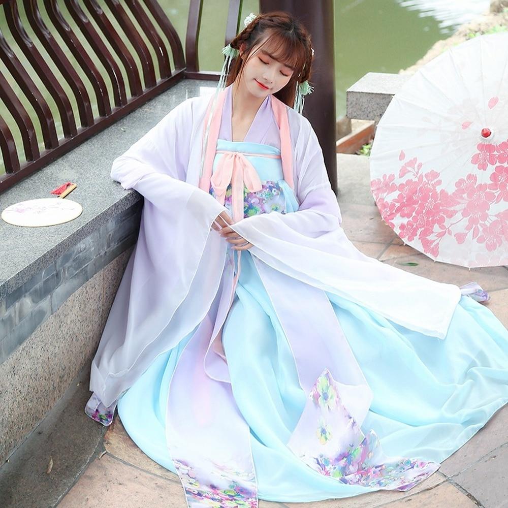 Традиционный китайский костюм феи для танцев, одежда ханьфу в старинном стиле, Женская Восточная одежда для народного танца, женская одежда...