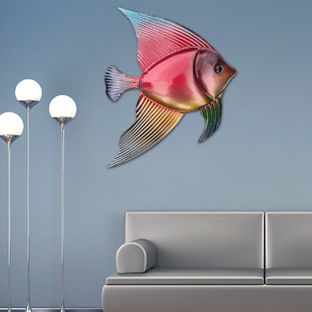 Escultura artística de fácil instalación para el hogar, colgante para exteriores, para interior, oficina, balcón, decoración de pared, dormitorio, sala de estar, pez, porche, jardín