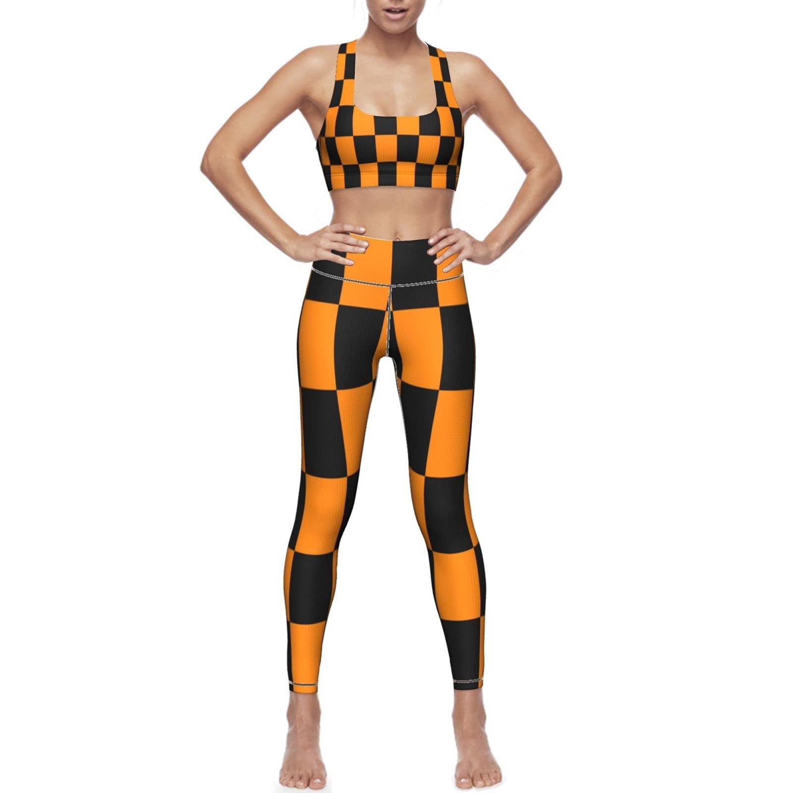 Женская одежда для йоги, костюм из двух предметов, желто-черные шахматные колготки в клетку с абстрактным фоном и накладкой на грудь s-xxl