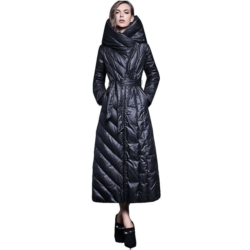 حجم كبير فضفاضة ضئيلة مقنعين معطف طويل المرأة 2021 جديد أنيق أسفل سترة عالية الجودة الأبيض بطة أسفل رشاقته معطف دافئ G286