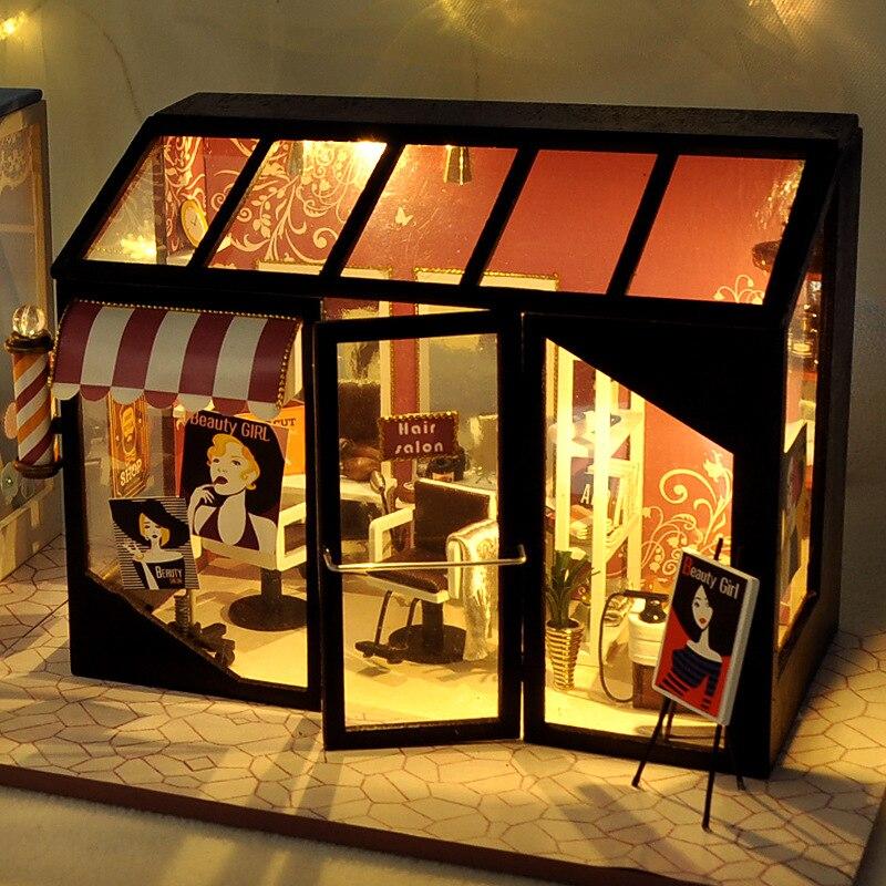 بيت الدمى المصغر مع LED ، DIY ، الموضة ، صالون الشعر ، ألعاب الأطفال