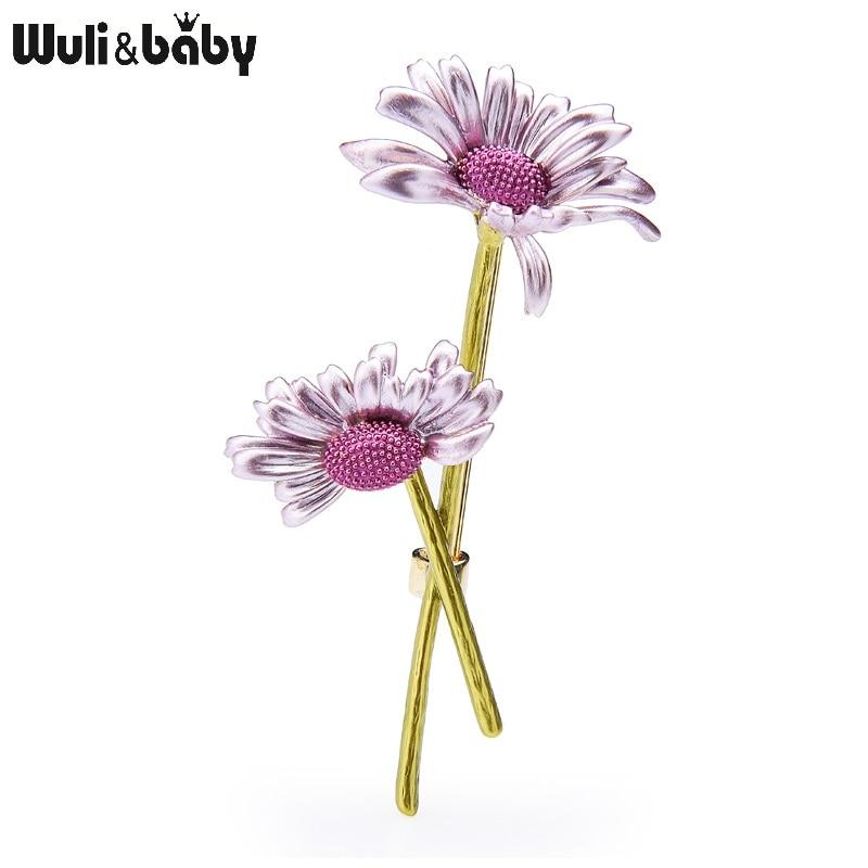 Wuli & bebê novo design esmalte margarida flor broches feminino 4-color casamentos flor casual escritório broche presentes