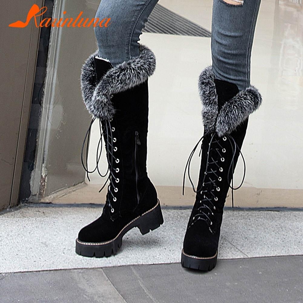 Karinluna dropship 2019 large size 43 winter warm fur Shoes woman outdoor snow boots Women shoelaces knee high Boots female shoe