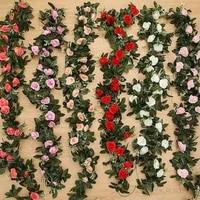 2 4m7 8ft artificial silk rose flower wisteria vine rattan hanging flower garland for wedding party home garden decoration