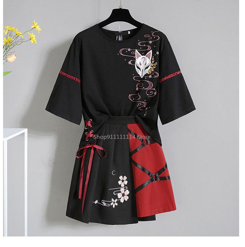 Anime Summer Red Ribbon Girl Lolita T-shirt Short Skirt Set Women Japanese Costume Clothing Cosplay