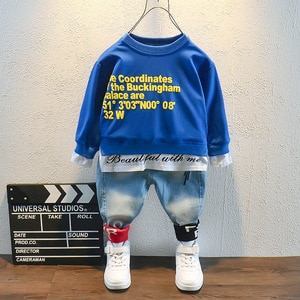 Spring Autumn Fashion Toddler Baby Kid Boy 2PCS Outifit Set letter printing long T-shirt+jeans Pants boys Clothes Set 2-6years