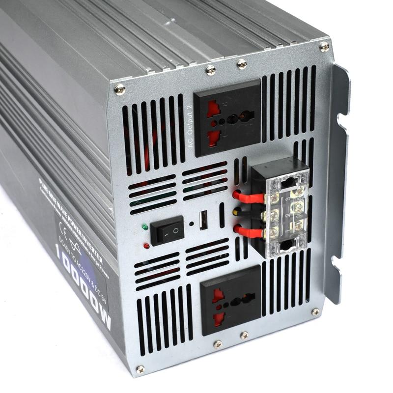 10000 W 10000 Watt voiture Auto onduleur onde sinusoïdale Pure cc 12v 24v 48v à ca 220v 110v convertisseur adaptateur avec chargeur USB