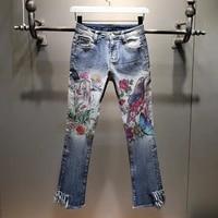 nancylim 2020 autumn new denim bell bottom pants womens printed high waist ripped tassel skinny denim jeans pants lady wear