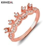 kioozol luxury shining crystal crown rings rose gold silver color rings women wedding party jewelry 446 ko2