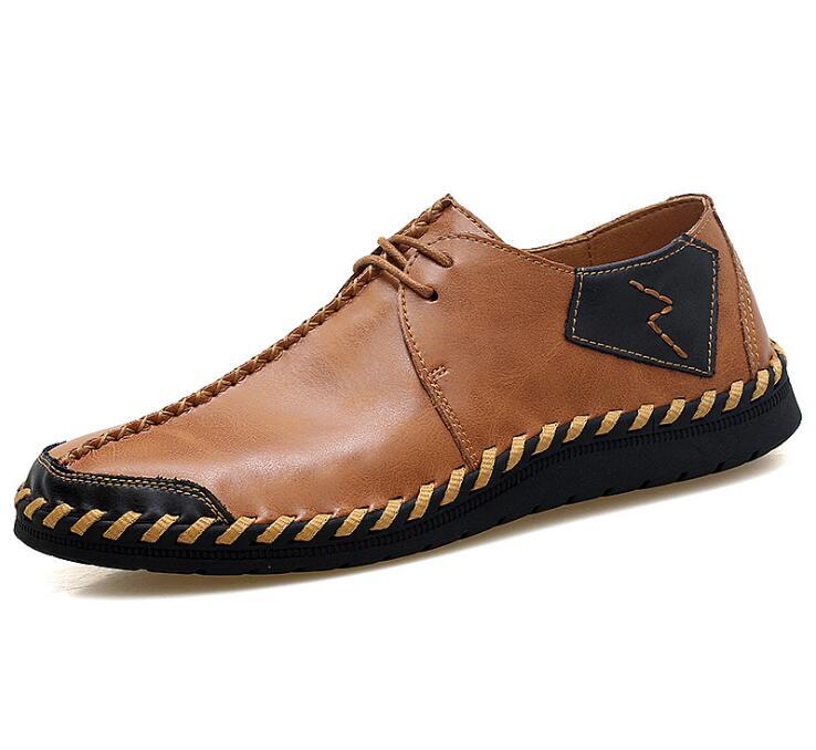 موضة الرجال أحذية من الجلد عادية جودة انقسام حذاء رجالي جلد الشقق في الهواء الطلق أحذية رجل حجم كبير