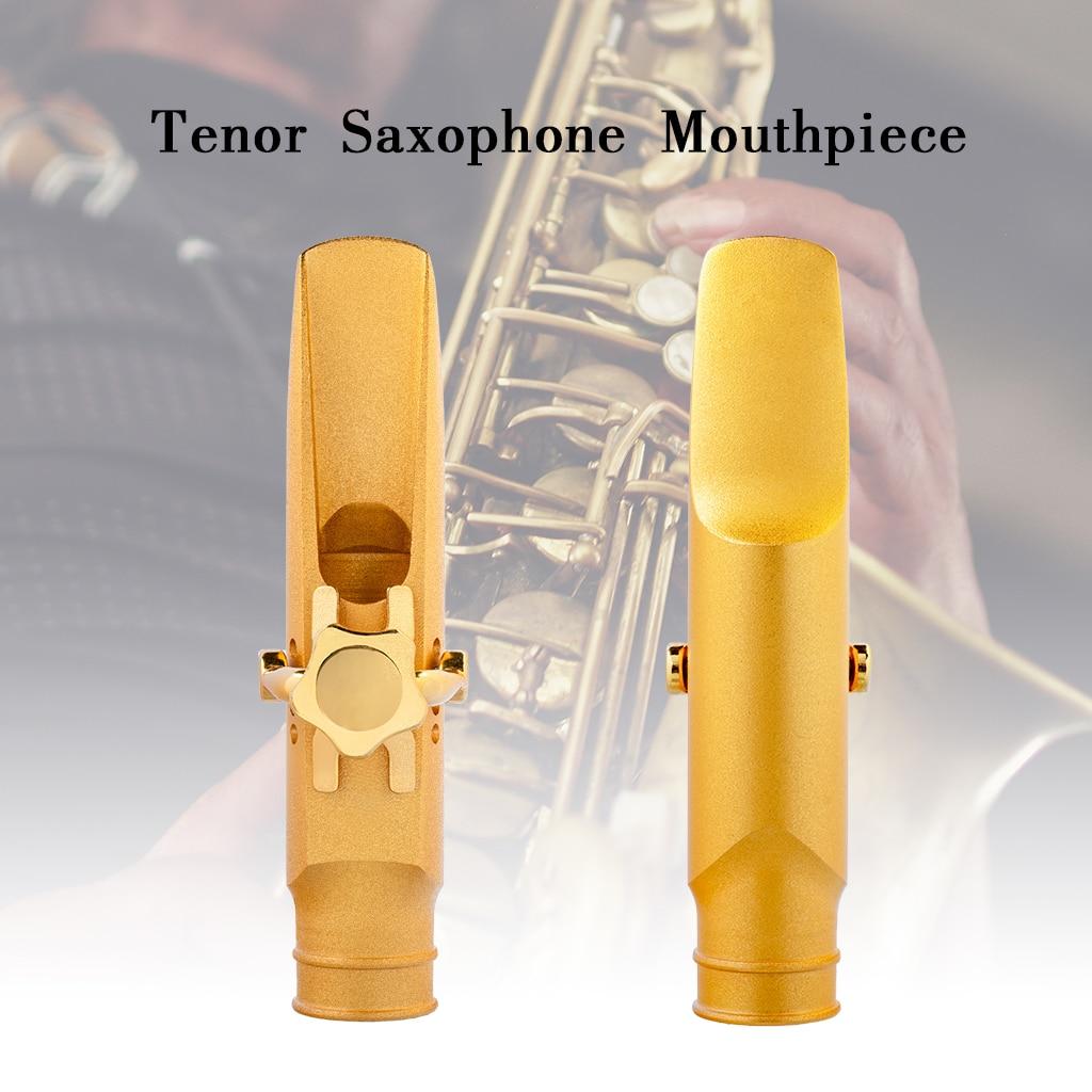 NAOMI Gold Plated B-flat Tenor Saxophone Sax Mouthpiece Cap Ligature 5.6.7.8.9.10 Medium Chamber Straight Baffle For Jazz Music enlarge