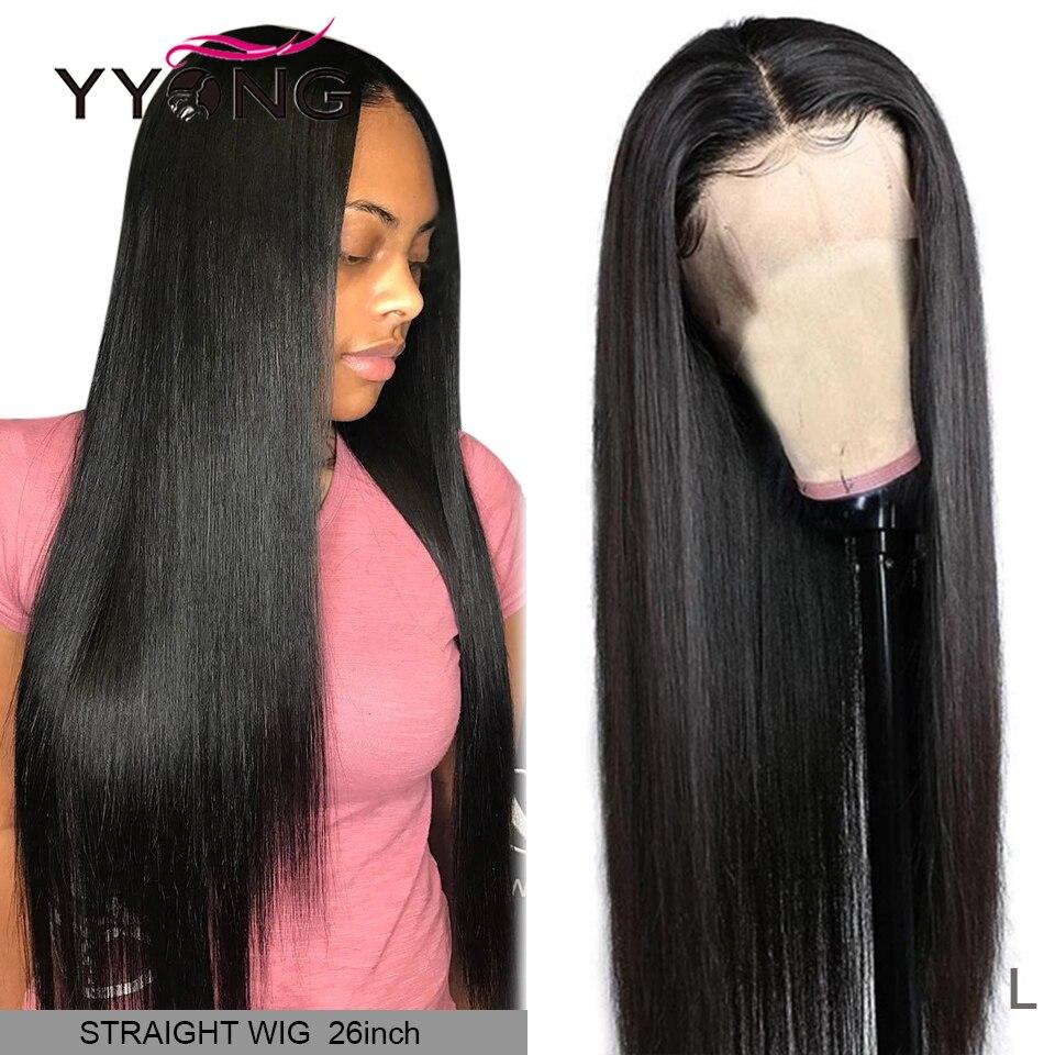 Pelucas de cabello humano 13x4 con frente de encaje recto Pre arrancado con pelos de bebé 10-32 pulgadas de baja proporción brasileña Remy Peluca de encaje de pelo humano 120%