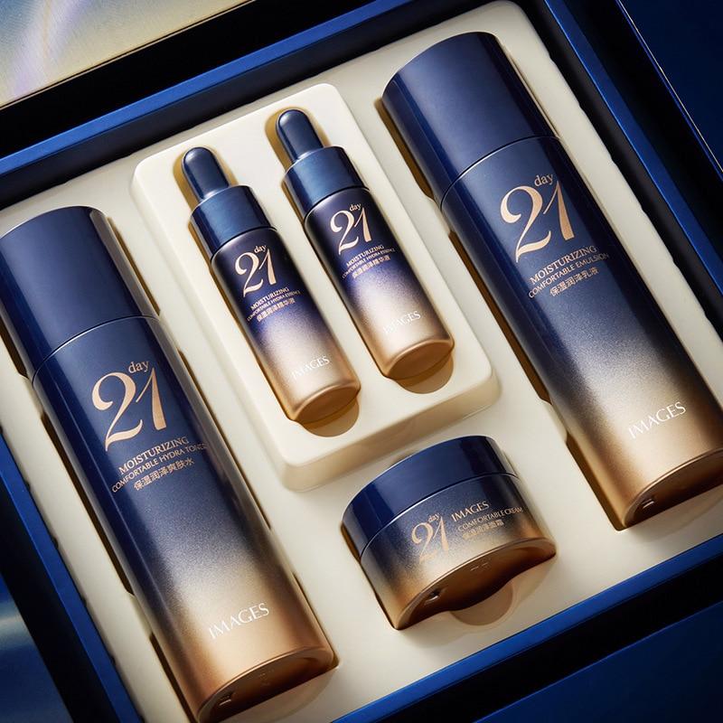 Moisturizing Skin Care Set 5PCS Face Toner Serum Essence Cream Shrink Pores Oil Control Anti-Aging F