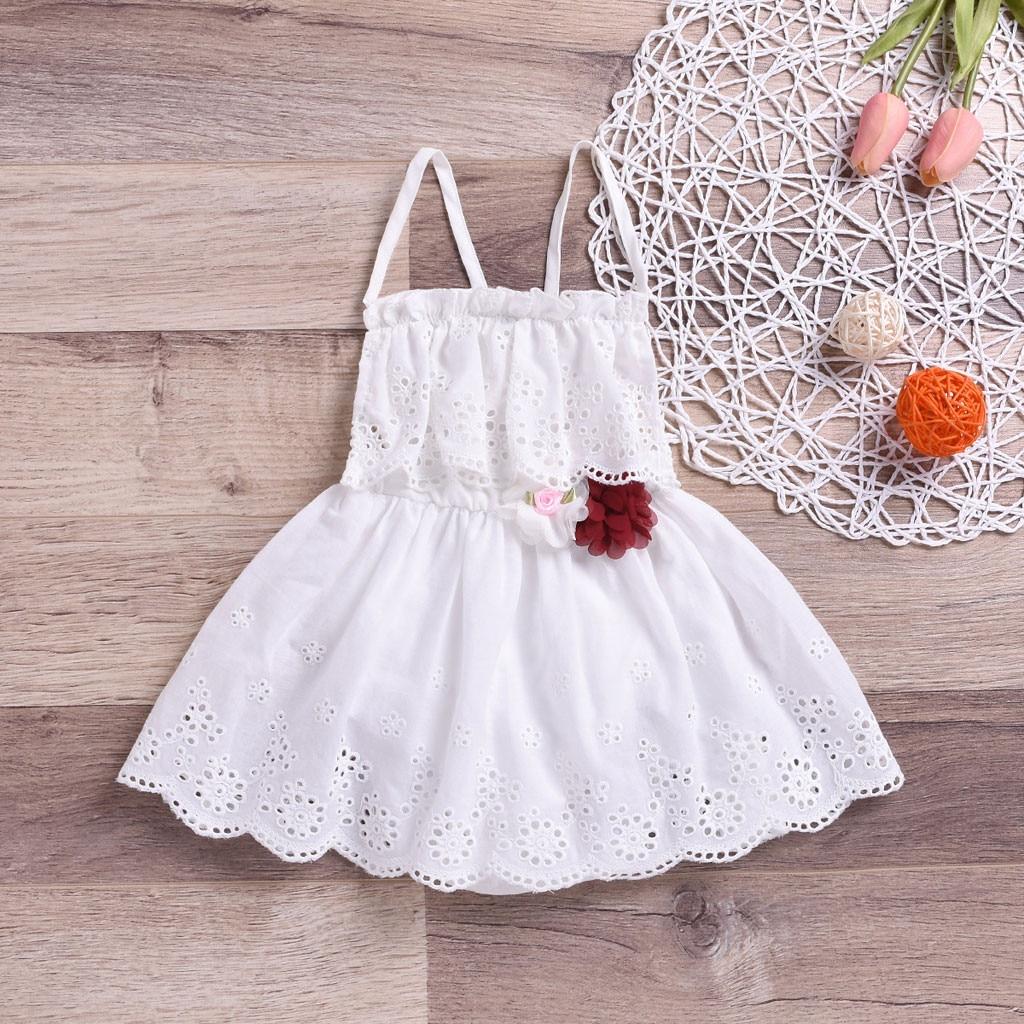 Laço bebê menina vestido doce flor sólida sem mangas vestido de princesa bonito bebê menina verão roupas 1 ano de idade vestido da menina de aniversário